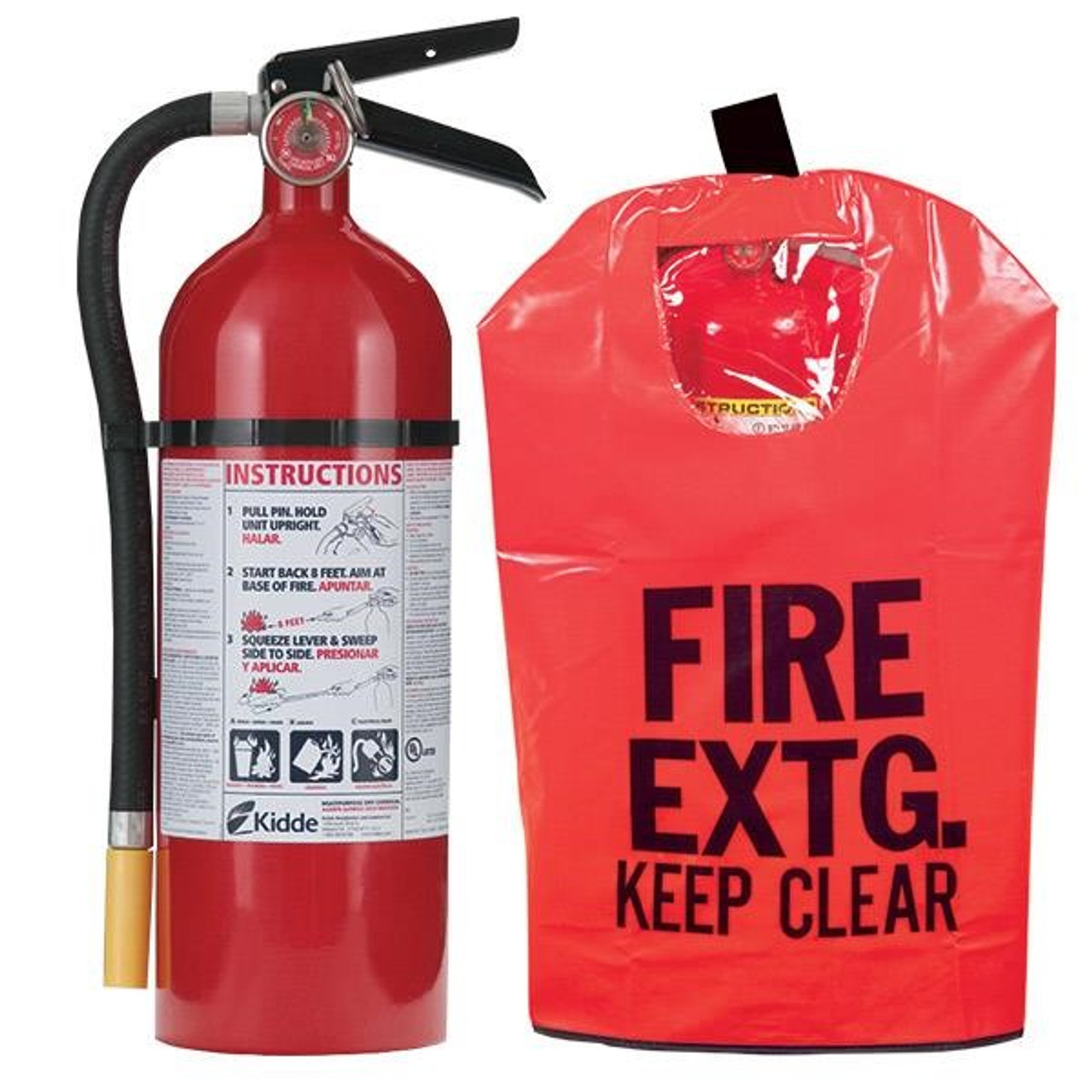 2 Pack 5 lb ABC Pro Line Fire Extinguisher w//Heavy-Duty Fire Extinguisher Cover