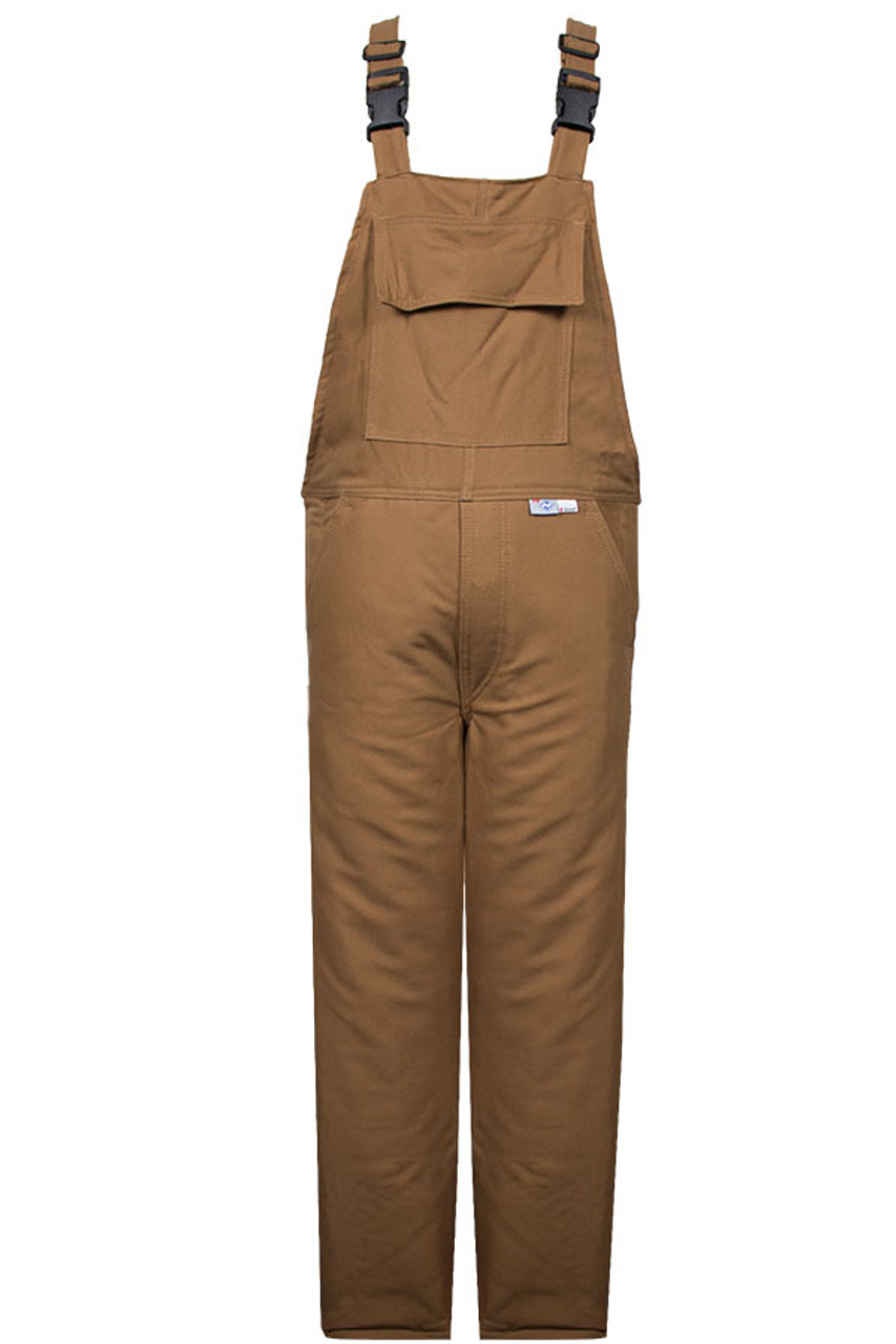 df6eaf9dbcb3 NSA 47 cal cm² Explorer™ Flame Resistant Bib Overall Water Resistant Brown  UltraSoft® Duck - Jendco Safety Supply