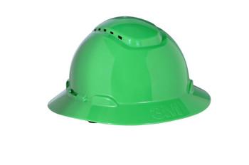 3M Full Brim Hard Hat H-804V - Green 4-Point Ratchet Suspension - Vented - 20 EA/Case