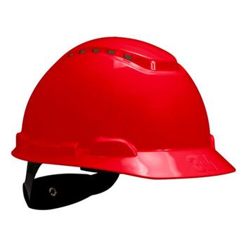 3M Hard Hat H-705V-UV - Red - 4-Point Ratchet Suspension - Vented - with Uvicator 20 EA/Case
