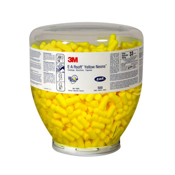 3M E-A-Rsoft Yellow Neons One Touch Refill Uncorded Earplugs 391-1004, Regular Size 2000 EA/Case