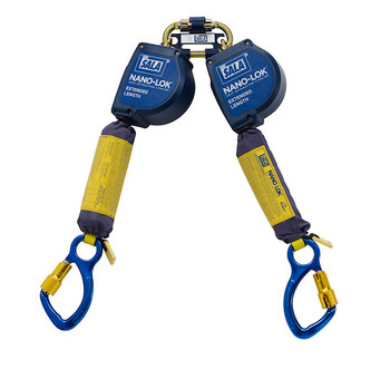 3M DBI-SALA 11 ft Nano - Lok Extended Length Twin - Leg Quick Connect Self Retracting Lifeline - Web - 3101622