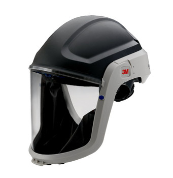 The M-307 assembly includes a M-927 Visor and M-937 Faceseal.  The M-927 visor is made of coated polycarbonate.  The M-937 faceseal is made of flame resistant polyester.