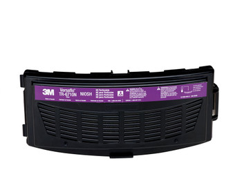 The TR-6710N is a High Efficiency (HE) particulate filter for use with TR-600 Series PAPRs.  The filter attaches directly to the motor/blower.  3M recommends the use of the TR-6700FC filter cover to help protect the filter from physcial damage.  The TR-6700FC filter cover is also used to hold the TR-6600 prefilter or TR-662 spark arrestor in place.