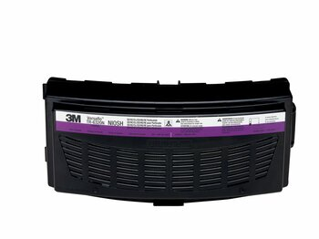 The TR-6320 is a combination High Efficiency (HE) particulate filter and Acid Gas cartridge for use with TR-600 series PAPRs. This filter may also be suitable for operations where the primary hazard is particulate  or certain acid gases, such as in mold remediation, acid cleaning, or plating operations. 3M recommends the use of the TR-6300FC filter cover to help protect the filter/cartridge from physcial damage.  The TR-6300FC filter cover is also used to hold the TR-6600 prefilter or TR-662 spark arrestor in place.  For maximum PAPR system run time, select the TR-632 High Capacity Battery when using the this cartridge.  NIOSH approval: SD/HC/CL/CD/HS/HE