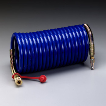 3M Supplied Air Hose W-2929-100, 100 ft, 3/8 in ID, Industrial Interchange Fittings, High Pressure, Coiled 1 EA/Case
