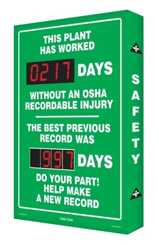 This Plant Has Worked #### Days Without An Osha Recordable Injury / The Best Previous Record Was #### Days / Do Your Part! Help Make A New Record  - SCA217