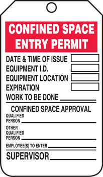 Confined Space Entry Permit  - TCS323FTM
