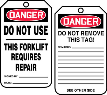 Do Not Use This Forklift Requires Repair  - TRS338FTM