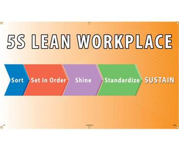 Banner 5S Lean Workplace Sort Set In Order Shine Standardize Sustain 3Ftx5Ft Polyethylene