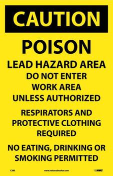 Caution Poison Lead Hazard Area Do Not Enter Work.. 17X11 Paper 100/Pk