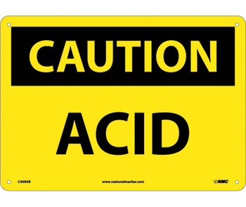 Caution Acid 10X14 .040 Alum