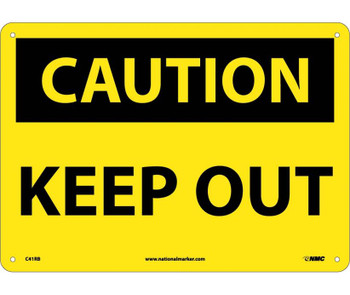 Caution Keep Out 10X14 Rigid Plastic
