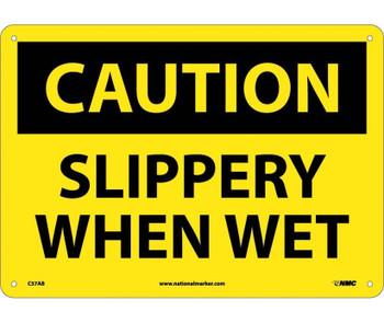 Caution Slippery When Wet 10X14 .040 Alum