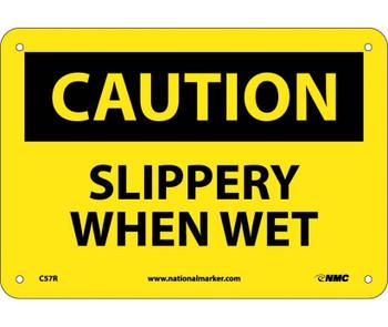 Caution Slippery When Wet 7X10 Rigid Plastic