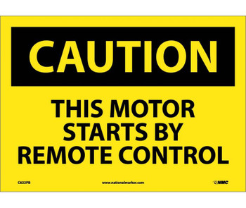 Caution This Motor Starts By Remote Control 10X14 Ps Vinyl