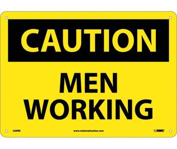 Caution Men Working 10X14 Rigid Plastic