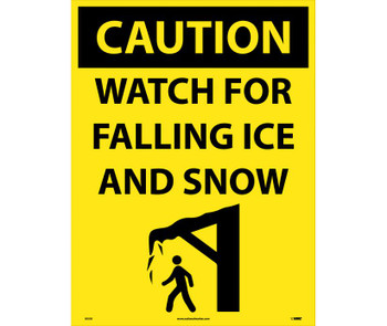Caution Watch For Falling Ice And Snow 32 X 24 Corrugated Plastic