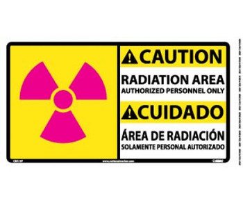 Caution Radiation Area Authorized Personnel Only (Graphic) Bilingual 10X18 Ps Vinyl