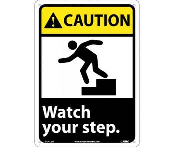 Caution Watch Your Step (W/Graphic) 14X10 Rigid Plastic