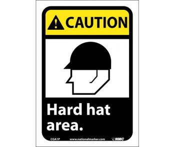 Caution Hard Hat Area (W/Graphic) 10X7 Ps Vinyl
