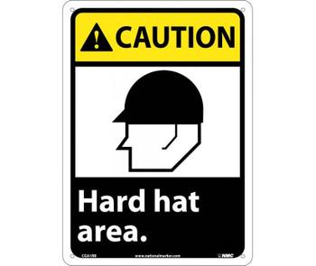 Caution Hard Hat Area (W/Graphic) 14X10 Rigid Plastic