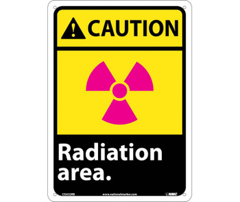 Caution Radiation Area 14X10 Rigid Plastic