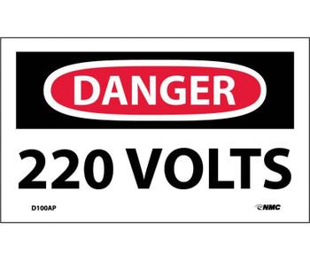 Danger 220 Volts 3X5 Ps Vinyl 5/Pk