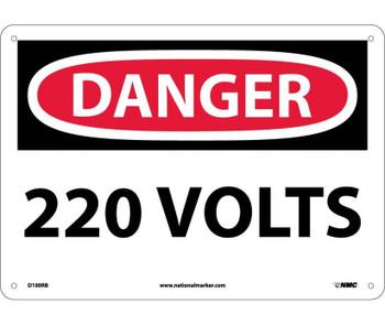 Danger 220 Volts 10X14 Rigid Plastic