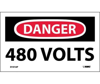 Danger 480 Volts 3X5 Ps Vinyl 5/Pk