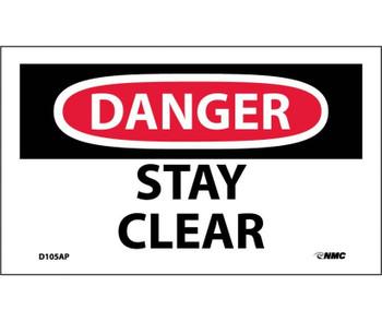 Danger Stay Clear 3X5 Ps Vinyl 5Pk