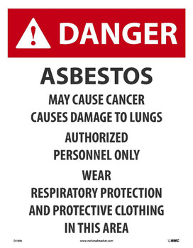 Danger Asbestos May Cause Cancer Paper Sign 18 X 14 Paper 200/Pk