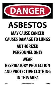 Danger Asbestos Cancer And Lung Disease Hazard .. 17X11 Paper 100/Pk
