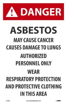 Danger Asbestos May Cause Cancer 17X11 Paper 100/Pk