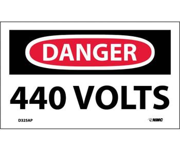 Danger 440 Volts 3X5 Ps Vinyl,5/Pk