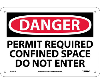 Danger Permit Required Confined Space Do Not Enter 7X10 Rigid Plastic