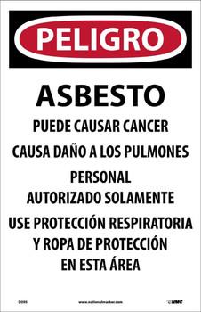 Danger Asbestos Dust Hazard. . .(Spanish) 17X11 Paper 100/Pk