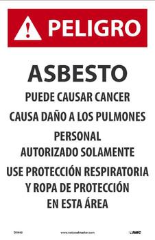Danger Peligro Asbesto Puede Causar Cancer(Spanish) 17X11 Paper 100/Pk