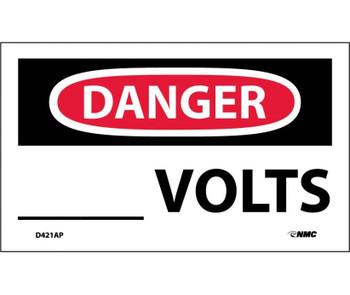 Danger ____ Volts 3X5 Ps Vinyl 5/Pk