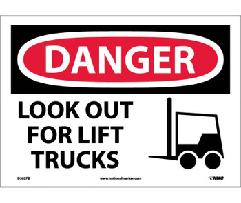 Danger Look Out For Lift Trucks Graphic 10X14 Ps Vinyl