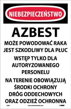 Danger Asbestos Dust Hazard (Polish) 17X11 Paper 100/Pk