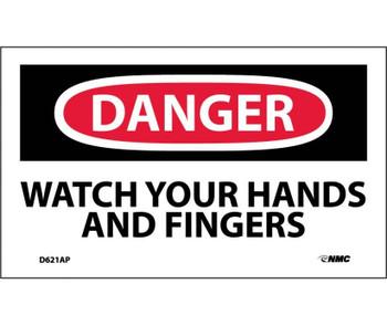 Danger Watch Your Hands And Fingers 3X5 Ps Vinyl 5/Pk