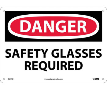 Danger Safety Glasses Required 10X14 Rigid Plastic