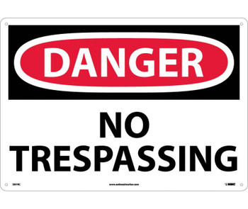 Danger No Trespassing 14X20 Rigid Plastic