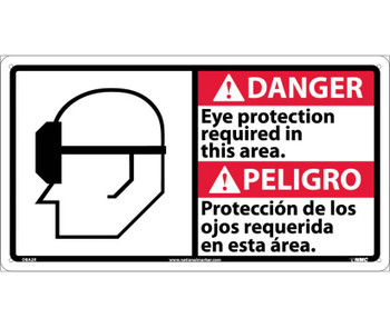 Danger Eye Protection Required In This Area (Bilingual W/Graphic) 10X18 Rigid Plastic