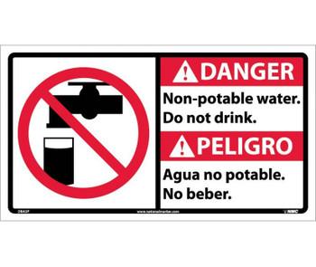 Danger Non-Potable Water Do Not Drink (Bilingual W/Graphic) 10X18 Ps Vinyl