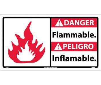 Danger Flammable (Bilingual W/Graphic) 10X18 Ps Vinyl