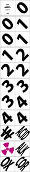 "2"" Numbers And Symbols 3-0 3-1 3-2 3-3 3-4 Alk Acid Cor Ox Radiation Symbol  No Water Symbols Package 21 P/S Vinyl,"