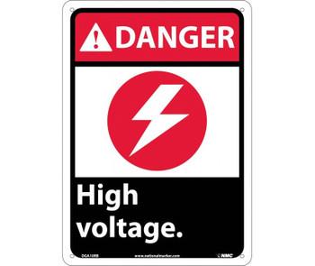 Danger High Voltage (W/Graphic) 14X10 Rigid Plastic