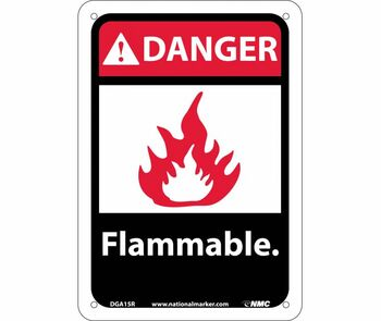 Danger Flammable (W/Graphic) 10X7 Rigid Plastic